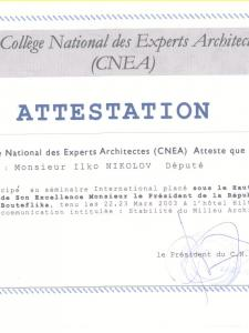 Attestation le College National des Experts Architectes (CNEA)